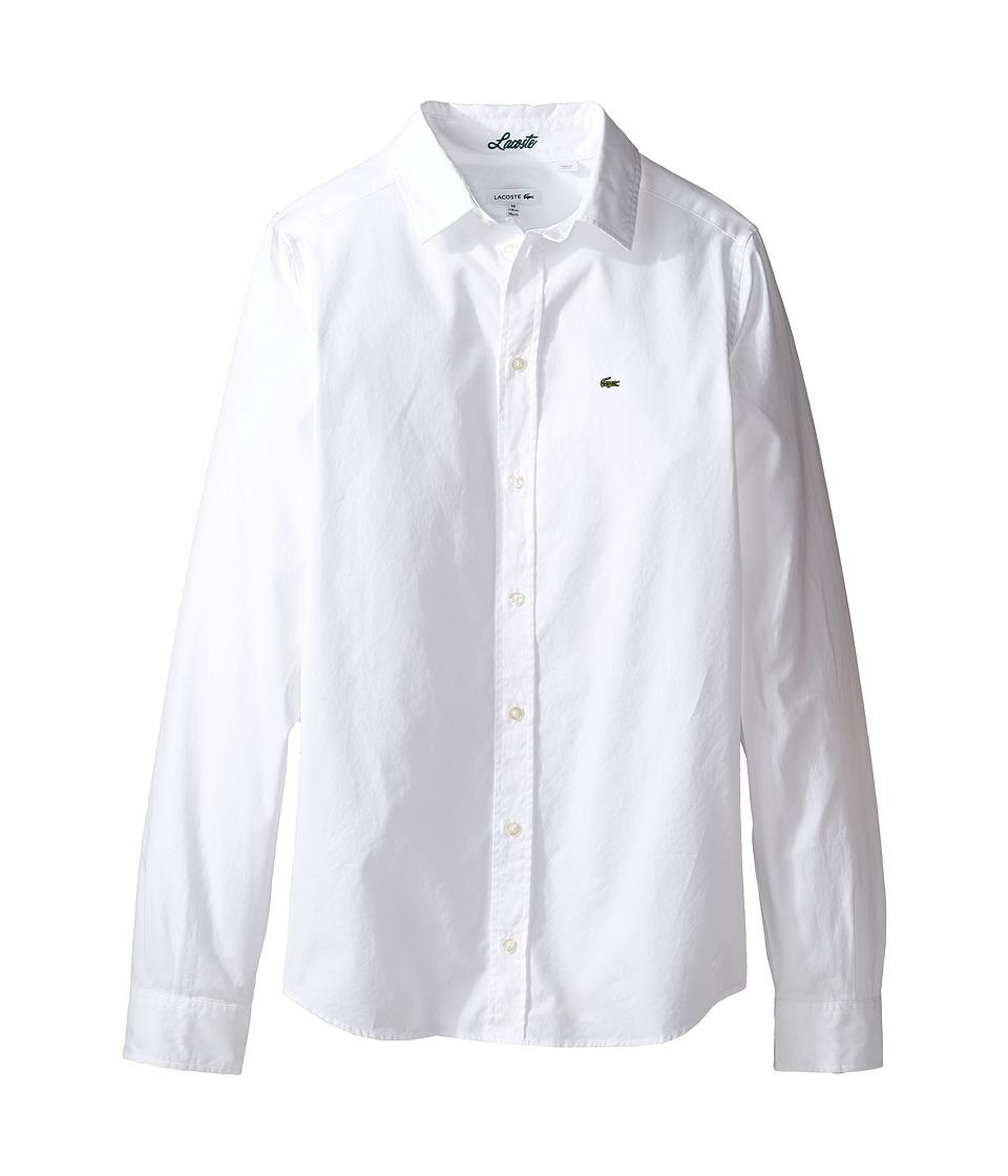 Lacoste Kids - Long Sleeve Classic Oxford Shirt (Little Kids/Big Kids) (White) Boys Clothing