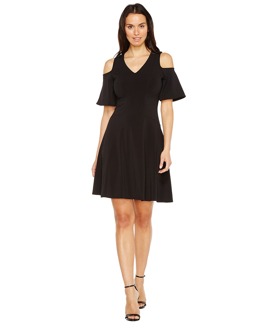 Karen Kane Cold Shoulder Travel Dress (Black) Women