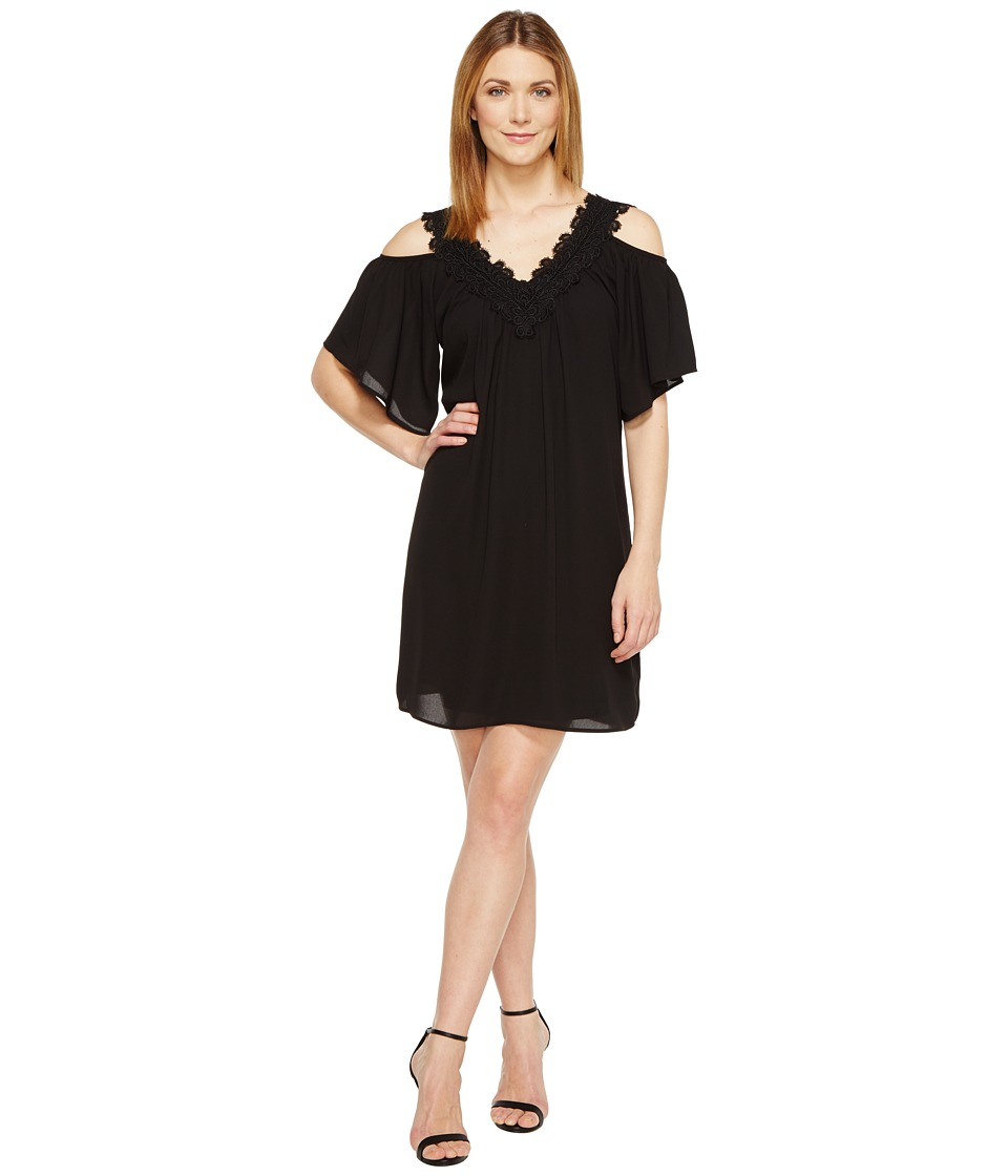 Karen Kane Neck Trim Cold Shoulder Dress (Black) Women