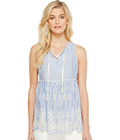 Karen Kane - Lace-Up Embroidered Sleeveless Top