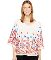 Karen Kane - Emboidered Split Neck Top