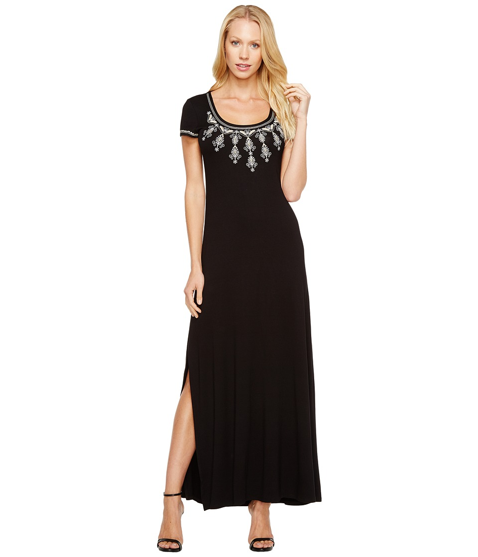 Karen Kane Embroidered Cap Sleeve Maxi Dress (Black) Women