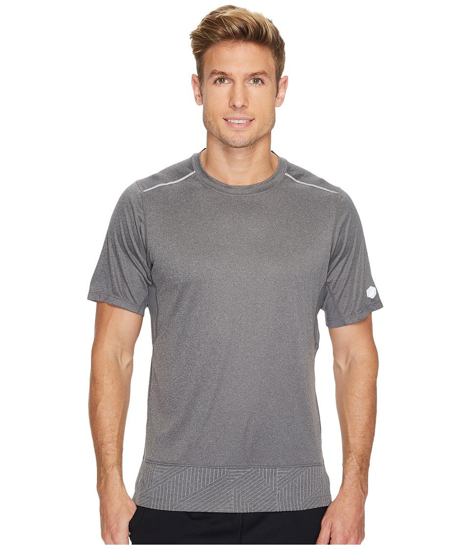ASICS Lite-Show Short Sleeve Top (Castlerock Heather/Spliced Stripe) Men