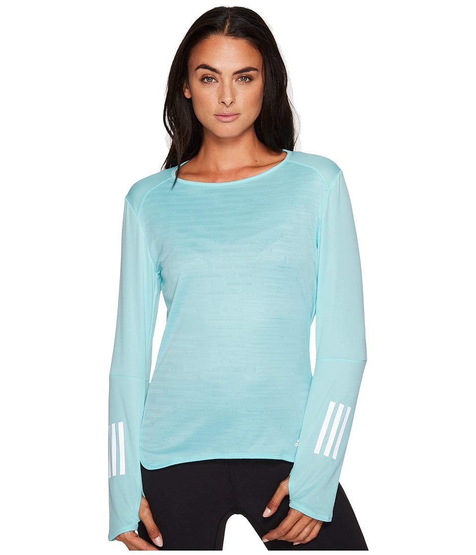 adidas - Response Long Sleeve Tee (Energy Aqua) Women's Long Sleeve Pullover