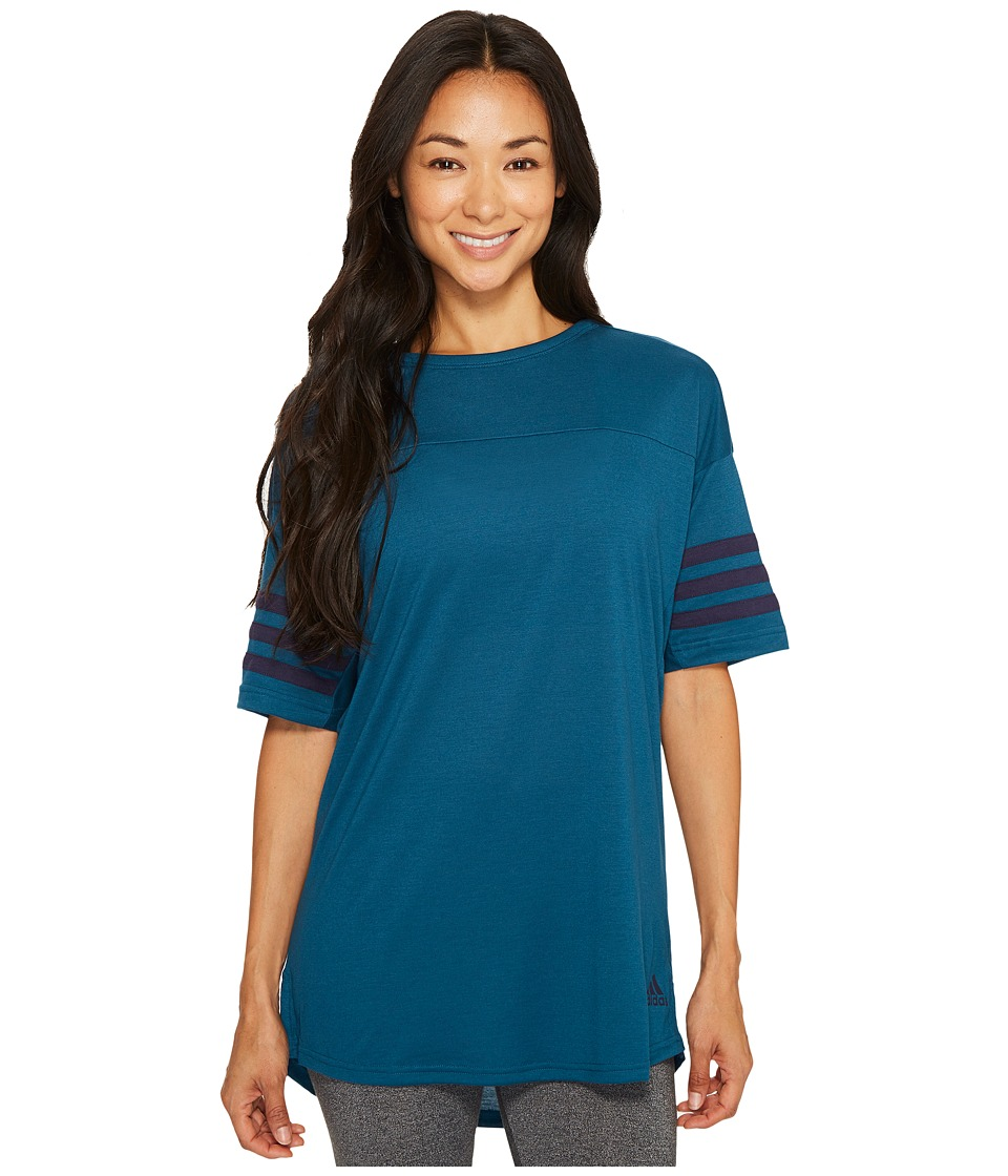 adidas - Short Sleeve Layering Top (Petrol Night) Women's Short Sleeve Pullover