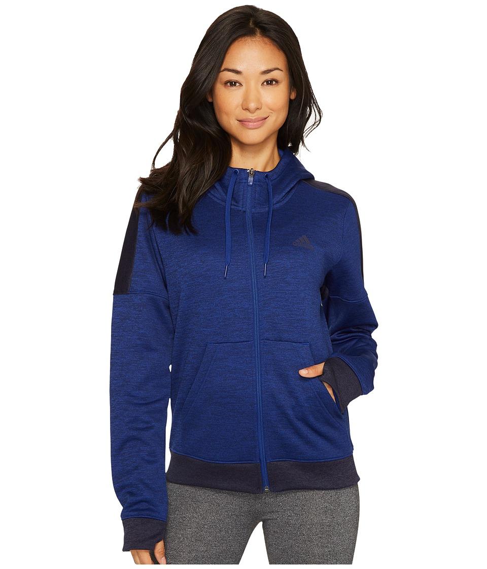 adidas Team Issue Fleece Full Zip Hoodie (Mystery Ink Melange) Women