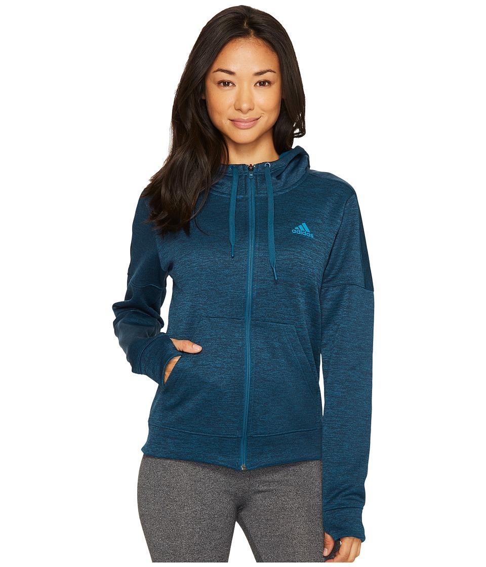 adidas Team Issue Fleece Full Zip Hoodie (Petrol Night Melange) Women