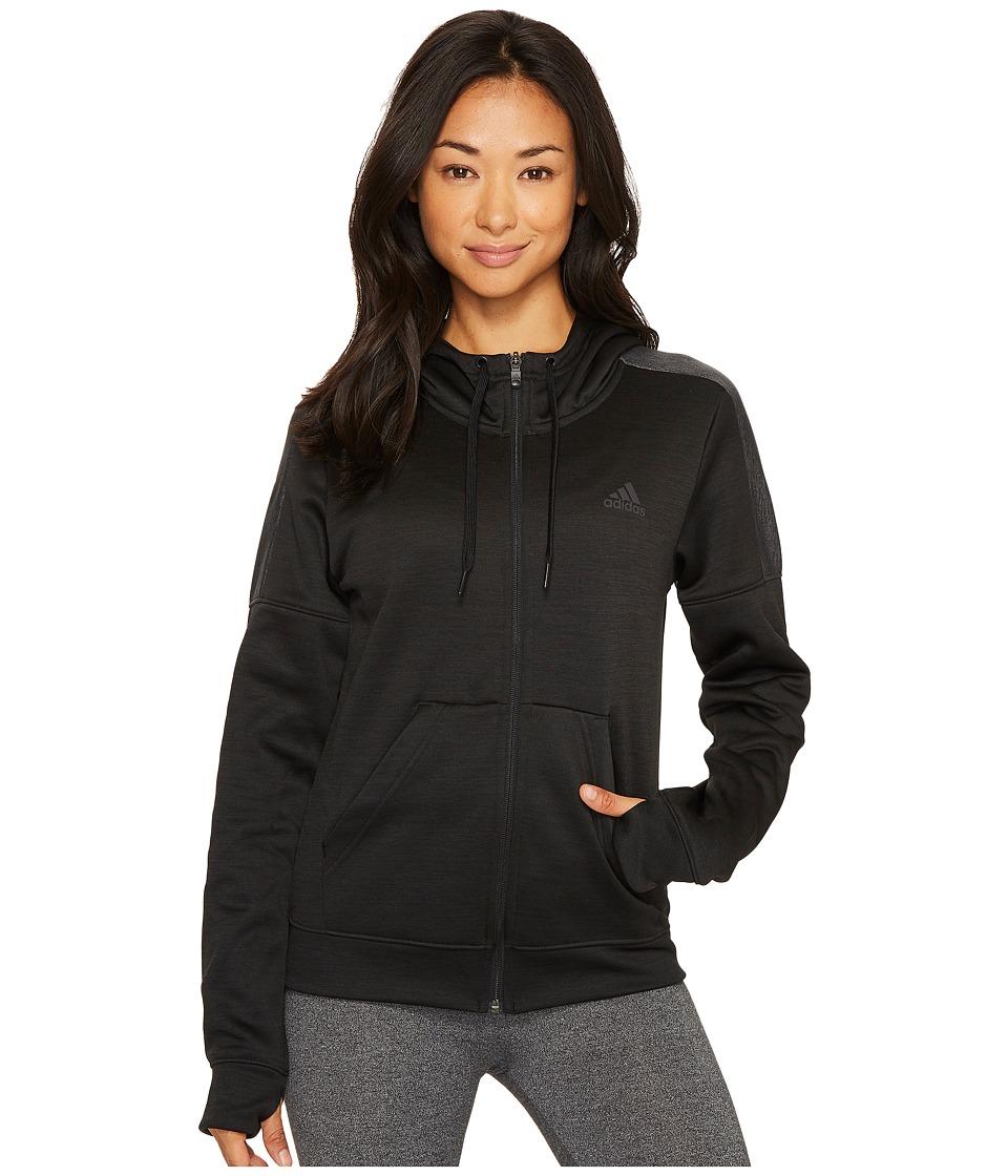 adidas Team Issue Fleece Full Zip Hoodie (Black Melange) Women