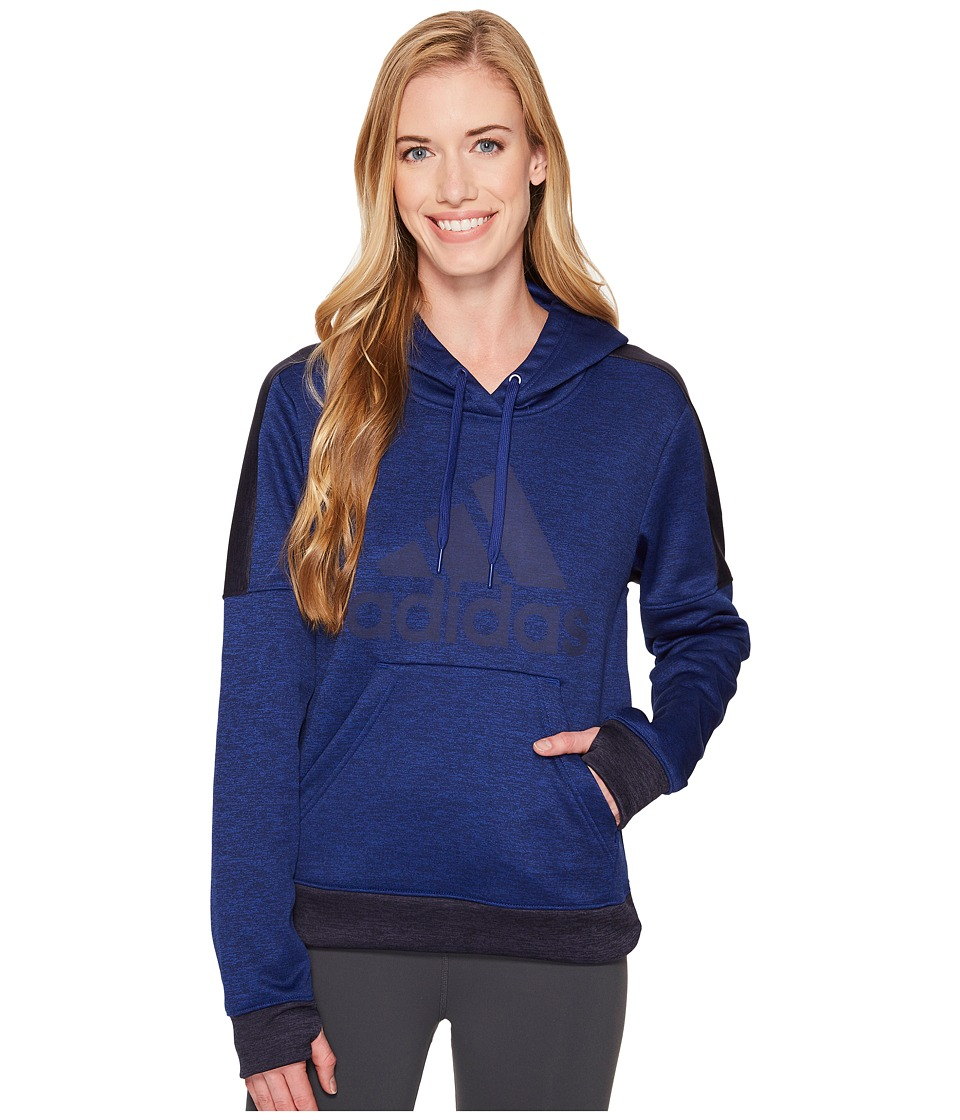 adidas Team Issue Fleece Pullover Logo Hoodie (Mystery Ink Melange/Noble Ink Melange/Mystery Ink) Women