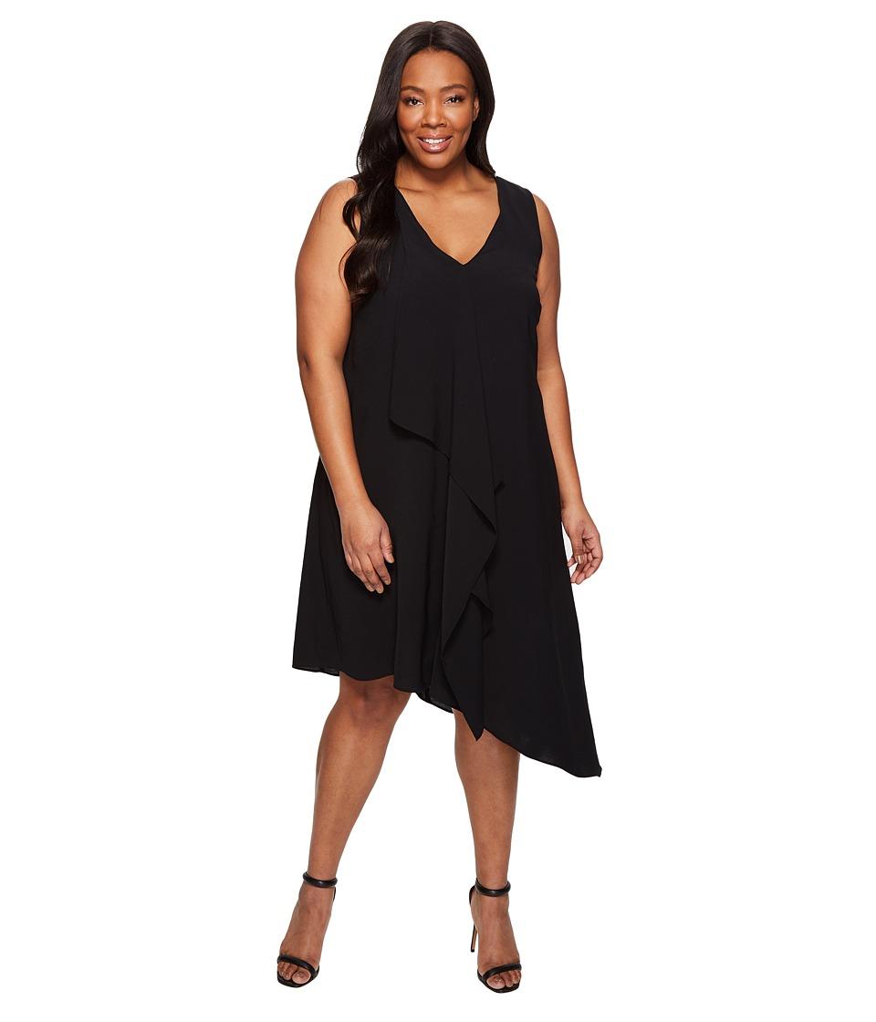 Adrianna Papell Plus Size Asymmetrical Front Drape Dress (Black) Women