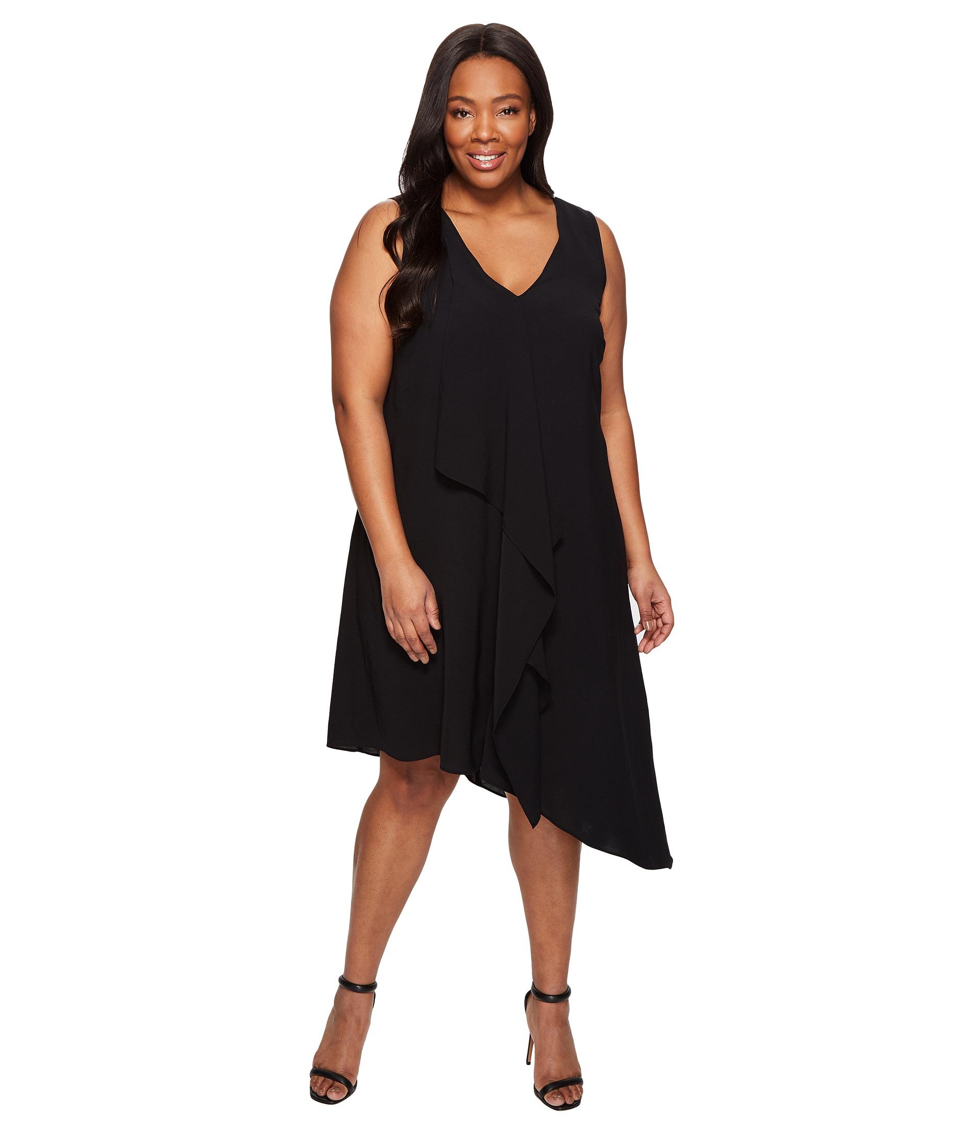 Asymmetric Drape Dress: Adrianna Papell Plus Size Asymmetrical Front Drape Dress