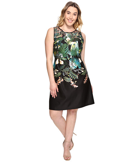 Adrianna Papell Plus Size Leafy Oasis Scuba A-Line Dress with Laser Cut Neckline