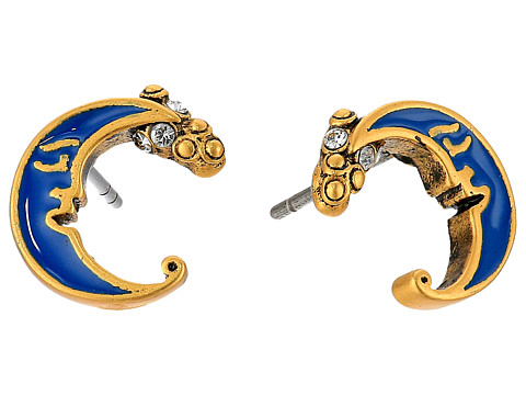 Marc Jacobs Charms Wonderland Enamel Moon Studs Earrings - Blue Multi