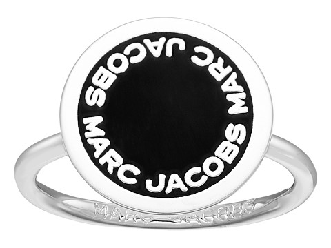 Marc Jacobs Logo Disc Enamel Logo Disc Ring - Black/Argento
