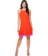 Vince Camuto - Sleeveless Halter Color Blocked Ruffle Hem Dress