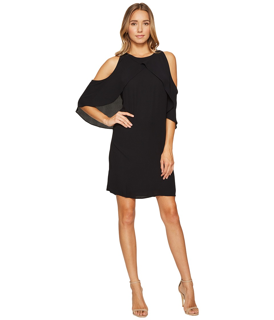 Vince Camuto Cross Over Ruffled Cold-Shoulder Dress (Rich Black) Women