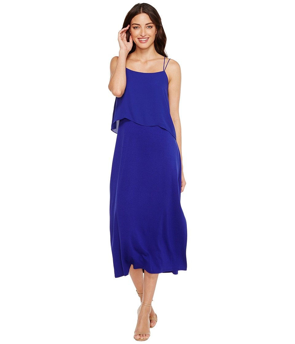 Vince Camuto Asymmetrical Woven Overlay Maxi Tank Dress (Nile Blue) Women