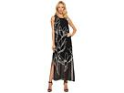 Sleeveless Fluent Cluster Overlay Maxi Dress