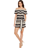 Vince Camuto - Kalai Stripe Off Shoulder Belted Romper