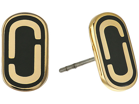 Marc Jacobs Icon Enamel Studs Earrings - Black