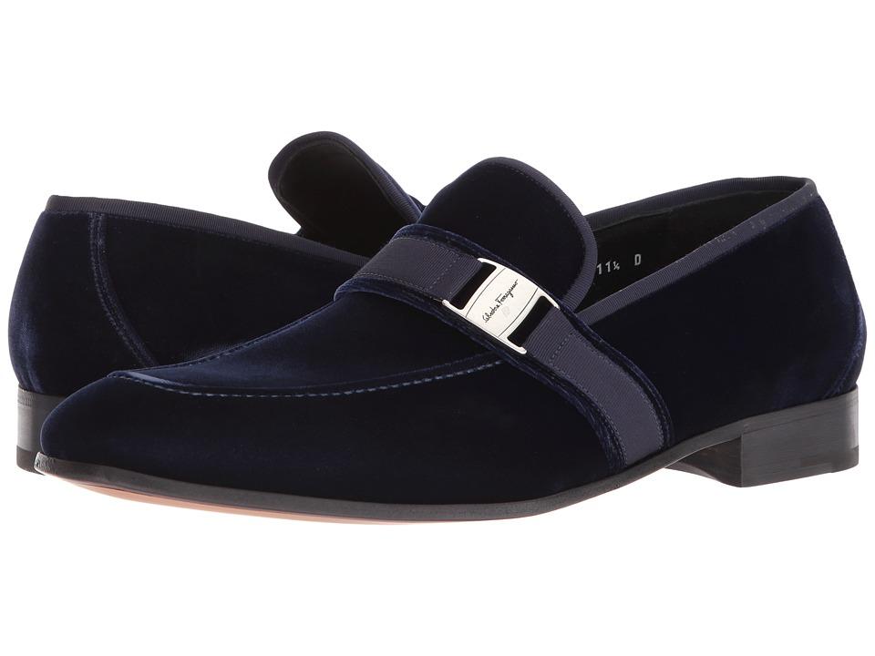 Salvatore Ferragamo Danny Moccasin (Blue) Men's Shoes