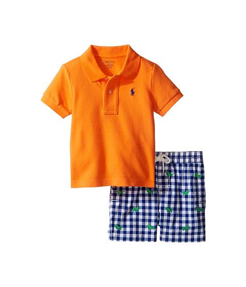 Ralph Lauren Baby Basic Mesh Gingham Shorts Set (Infant)