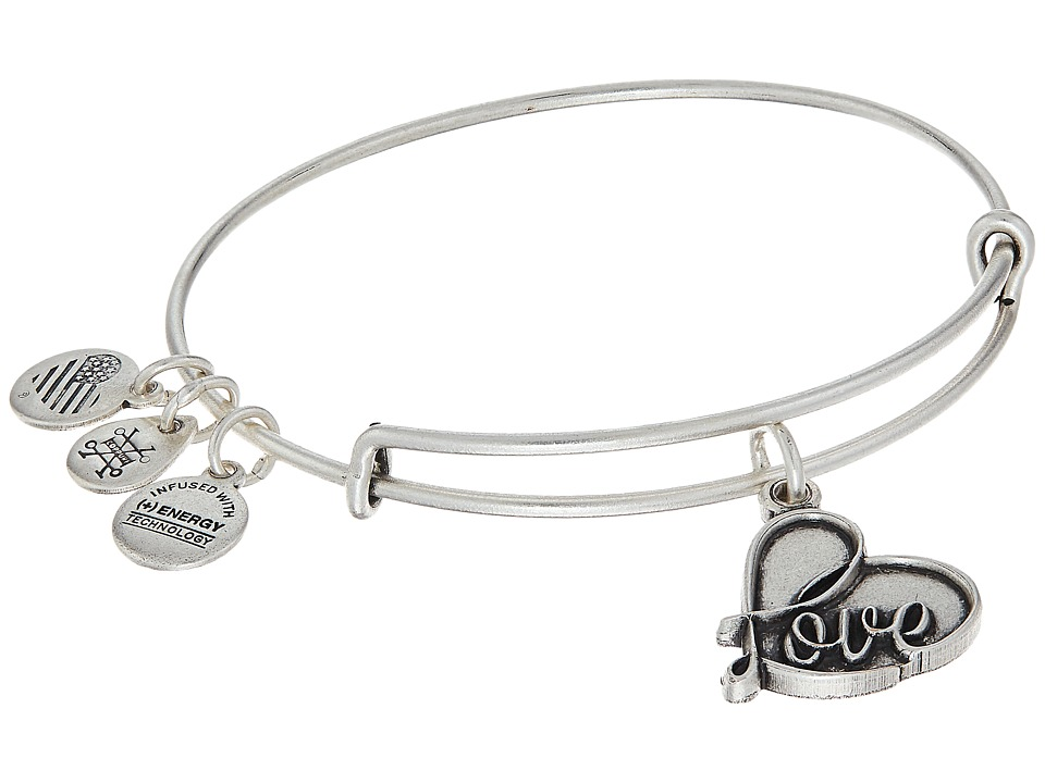 Alex and Ani - Path Of Symbols - Love IV Charm Bangle (Rafaelian Silver Finish) Bracelet