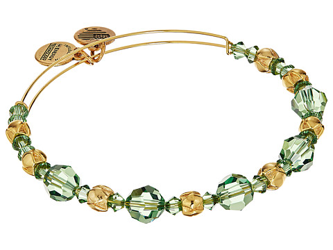 Alex and Ani Evergreen Beaded Bangle with Swarovski Crystals - Shiny Gold Finish