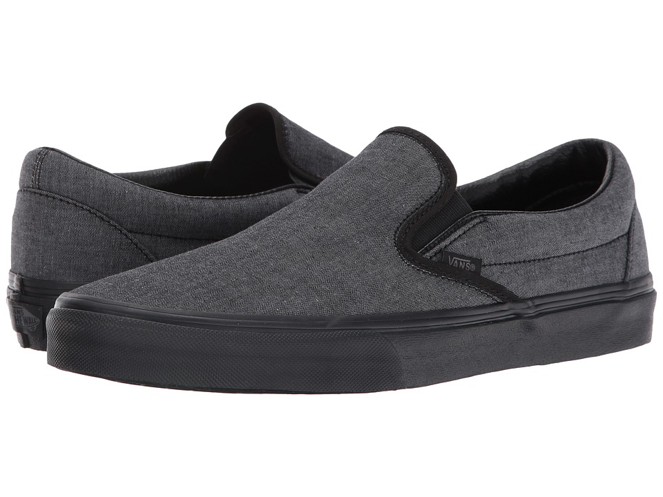 Vans Classic Slip-On ((Mono Chambray) Black/Black) Skate Shoes