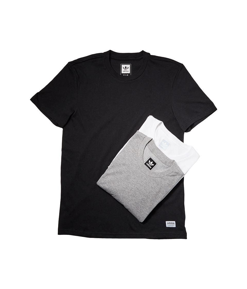 adidas Skateboarding 3-Pack Tees (Black/White/Core Heather) Men