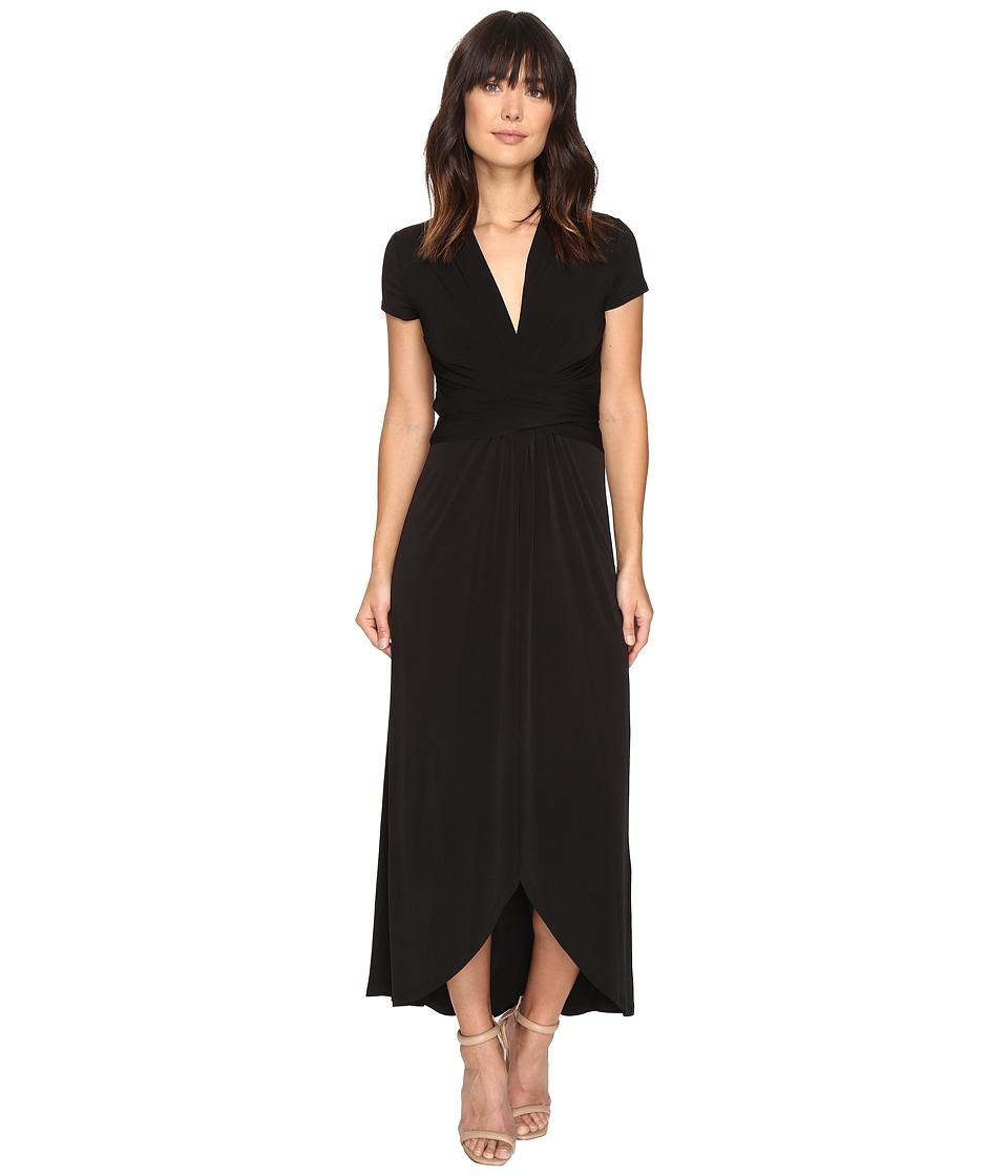 MICHAEL Michael Kors Short Sleeve Maxi Wrap Dress (Black) Women