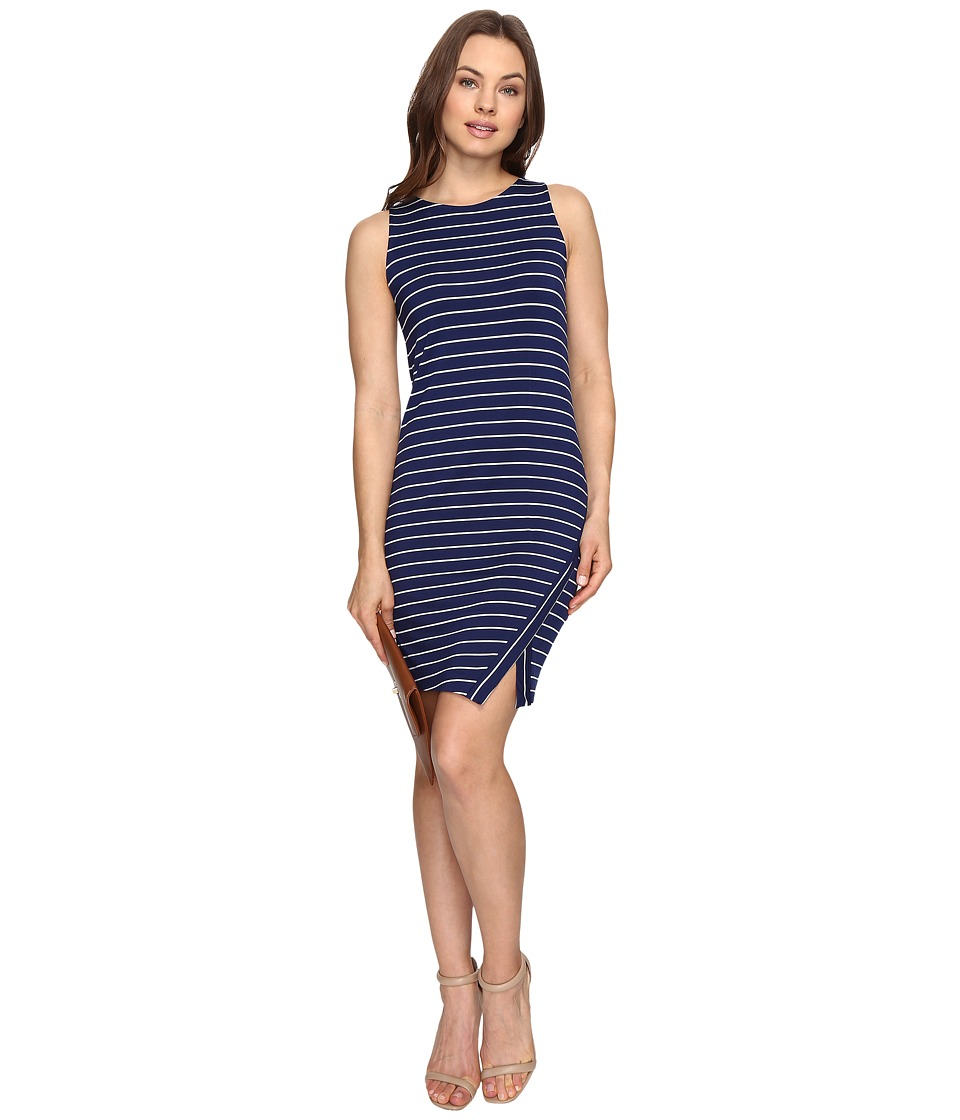 kensie - Lightweight Viscose Spandex Dress and Side Slit KS6K7219 (True Navy Combo) Womens Dress