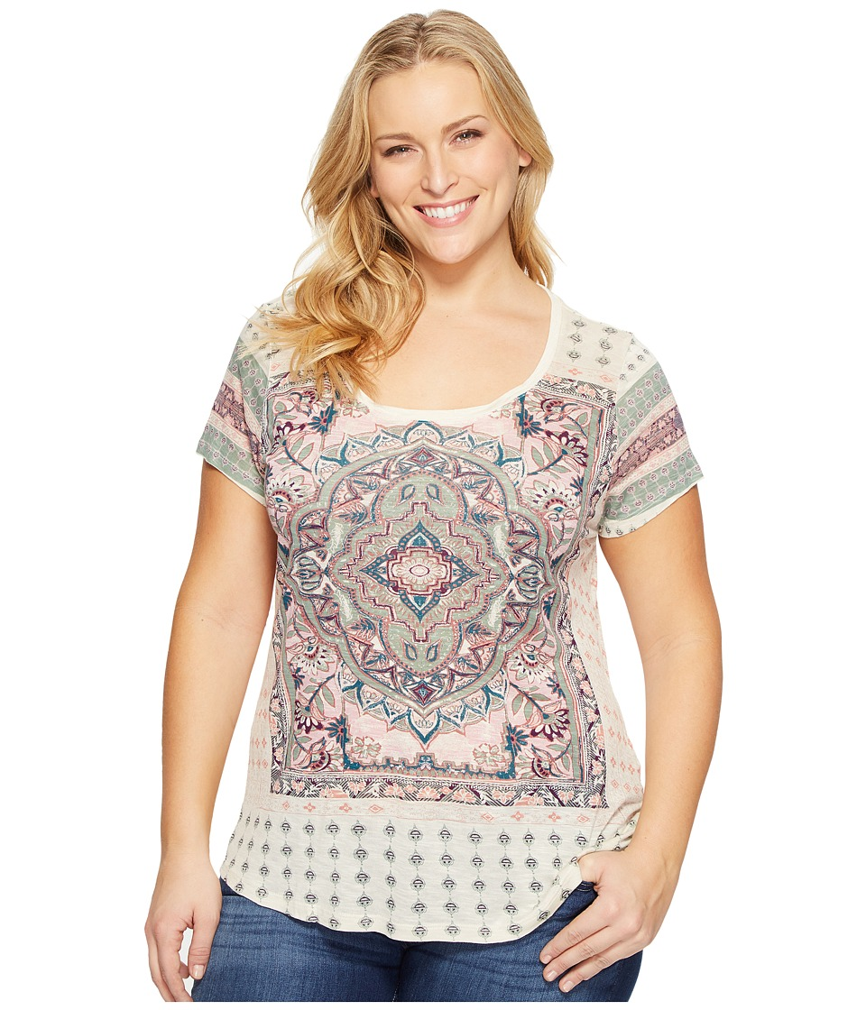Lucky Brand Plus Size Persian Carpet Tee (Green Multi) Women