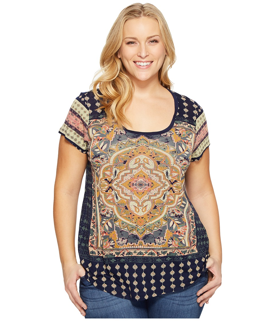 Lucky Brand Plus Size Persian Carpet Tee (Navy Multi) Women