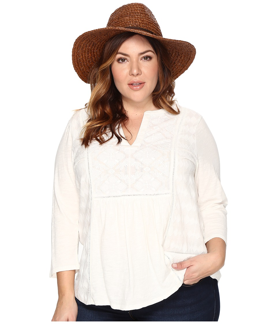 Lucky Brand Plus Size Embroidered Tee (Marshmallow) Women