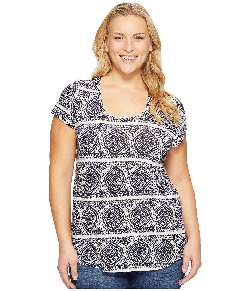 Lucky Brand Plus Size Geo Striped Tee (Blue Multi) Women