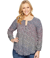 Lucky Brand - Plus Size Pintuck Peasant Top