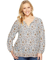 Lucky Brand - Plus Size Metallic Border Print Top