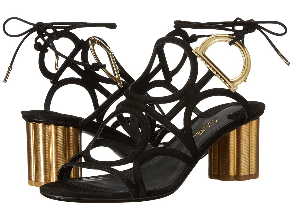 Salvatore Ferragamo Geometric Lace-Up Sandal (Nero Suede Kid RO) High Heels