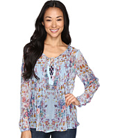 Lucky Brand - Lace-Up Floral Peasant Top