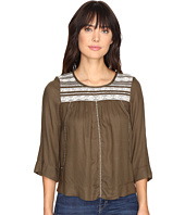 Lucky Brand - Olive Embroidered Top