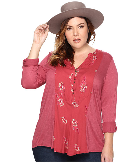 Lucky Brand Plus Size Printed Woven Mix Henley