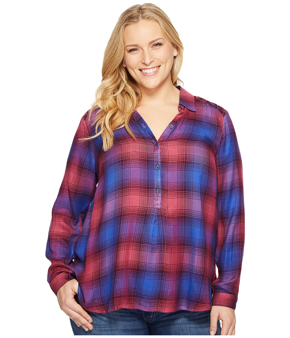 Lucky Brand Plus Size Embellished Plaid Shirt (Purple Multi) Women