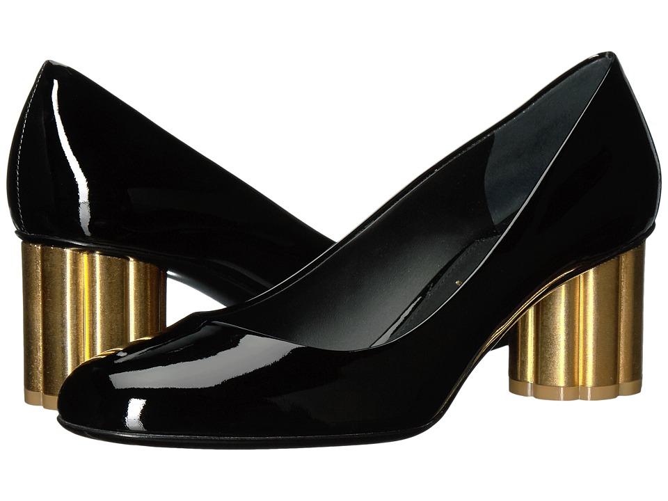 Salvatore Ferragamo Patent Leather Mid-Heel Pump (Nero Patent) High Heels