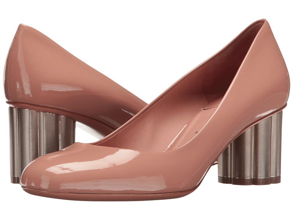 Salvatore Ferragamo Patent Leather Mid-Heel Pump (New Blush Patent) High Heels