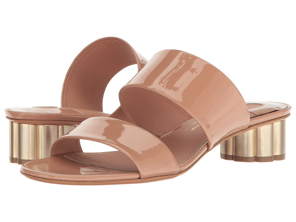 Salvatore Ferragamo Double Band Sandal (New Blush Patent) High Heels