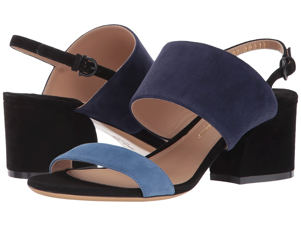 Salvatore Ferragamo Leather Double Band Mid-Heel Sandal (Blue Stone Suede Kid RO) High Heels
