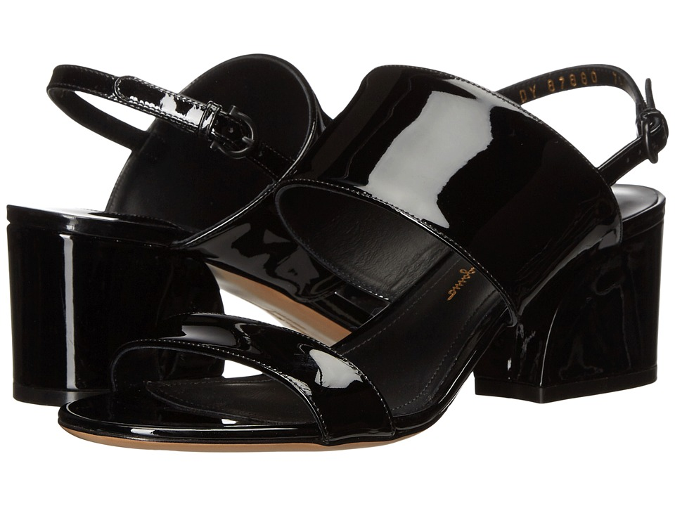 Salvatore Ferragamo Leather Double Band Mid-Heel Sandal (Nero Patent) High Heels