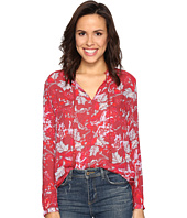 Lucky Brand - Red Floral Peasant Top