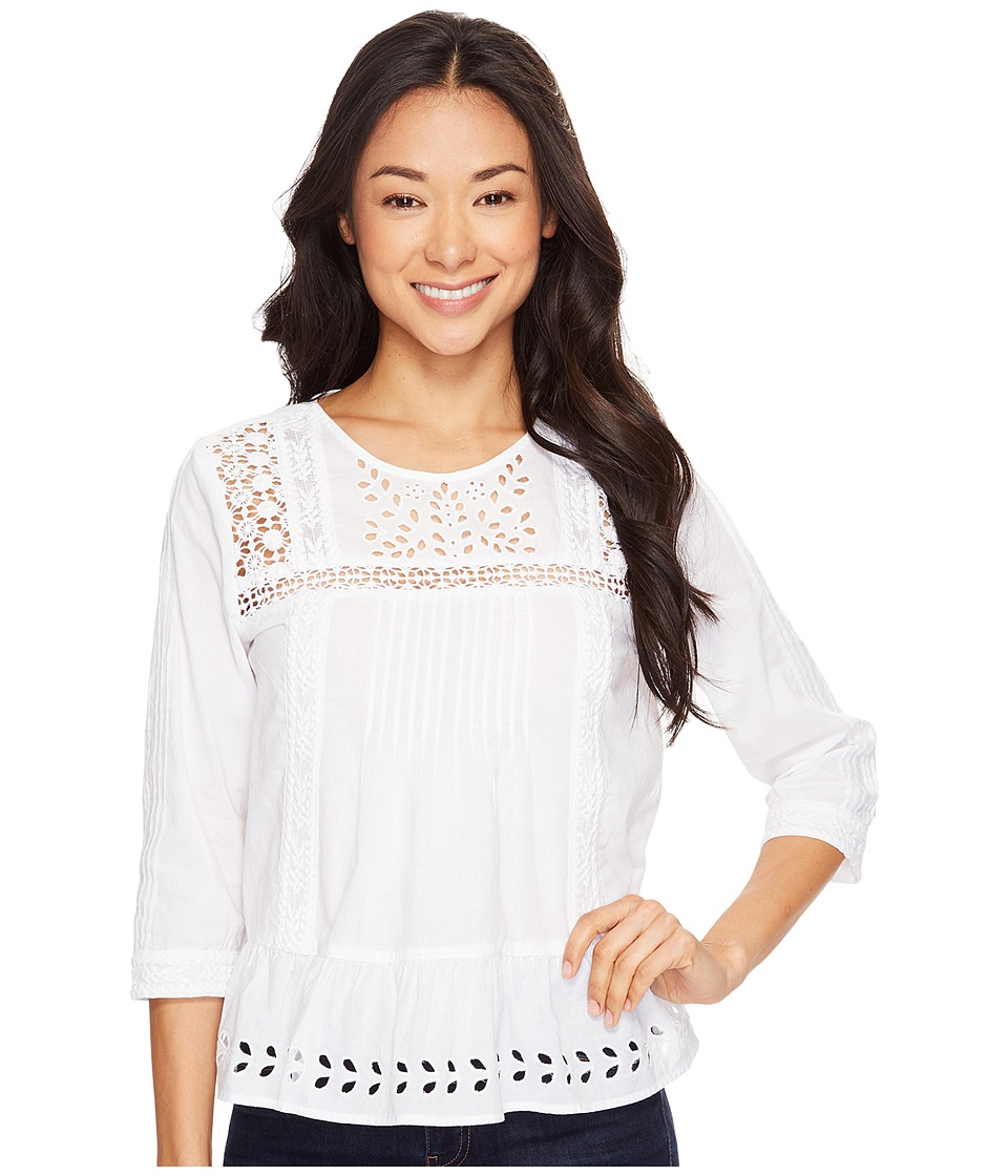 1940s Blouses and Tops Lucky Brand - Eyelet Peasant Top Lucky White Womens Blouse $89.50 AT vintagedancer.com